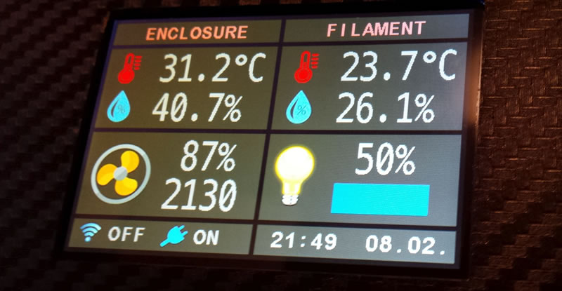 Image showing the display of the environmental control system
