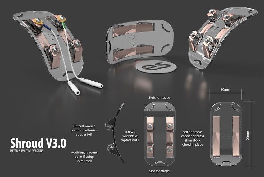 Immagine che mostra il design degli e-stimsons per un elettrodo di protezione delle labbra bipolare