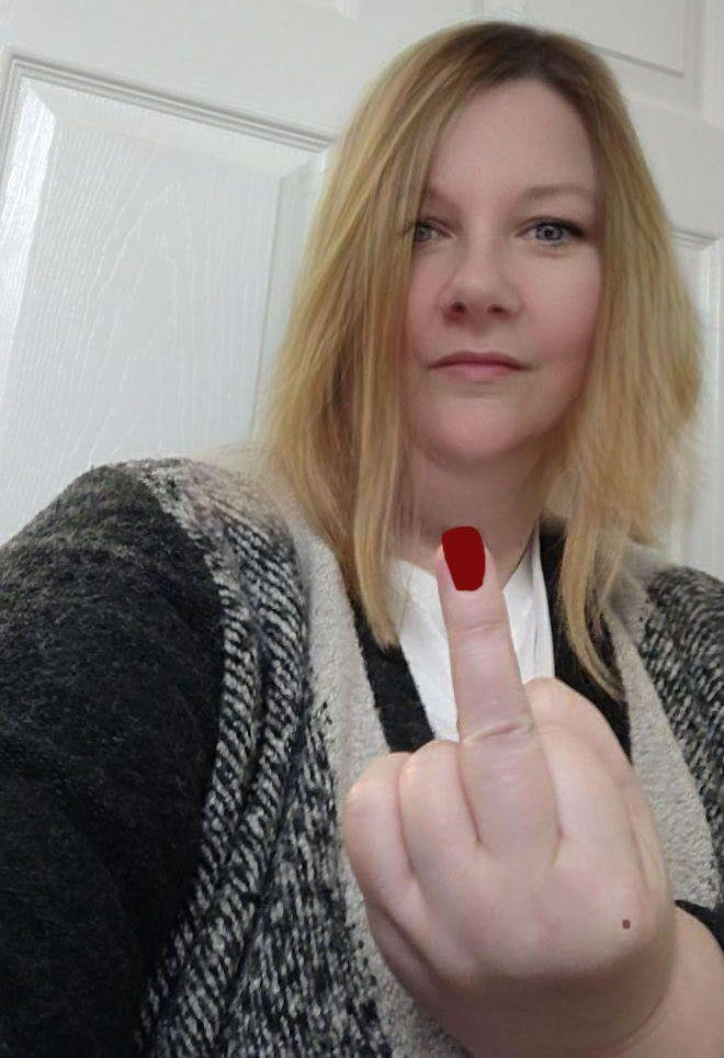 Image showing Joanne showing my middle finger