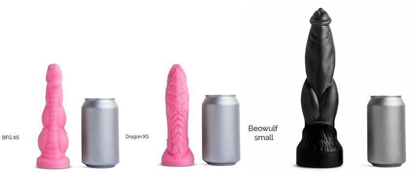 Bild som visar de tre dildoerna som jag kommer att granska för Herr Hankeys Toys