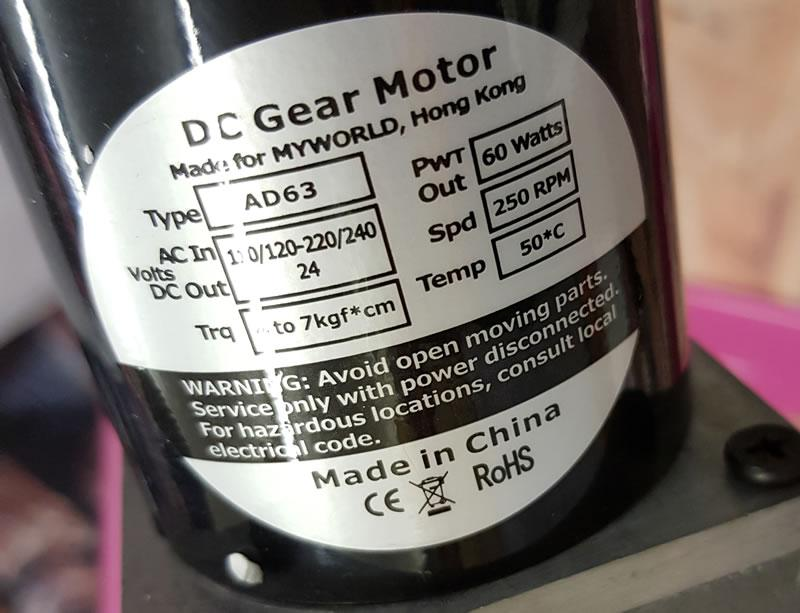 Image showing a motor label listing its power