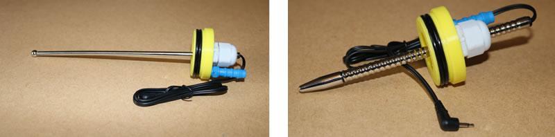 Изображение, показващо два различни звучащи електрода, поставени в кабелната жлеза