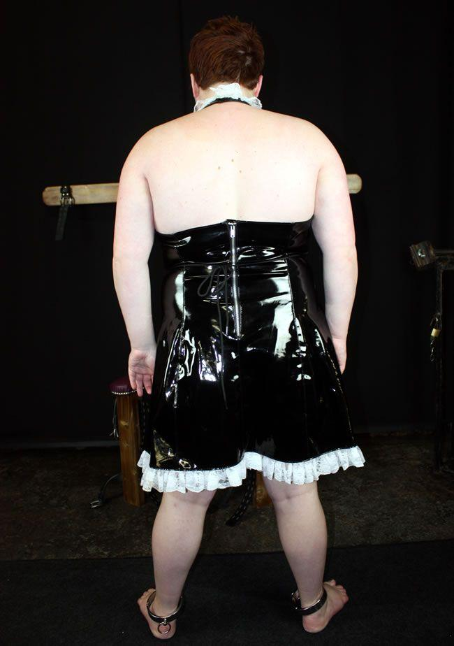 This is a super sexy black wet look PVC French Maid costume dress with white lace hem