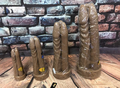Image showing all four sizes of the Tom, Dick and Zoltok Dildo