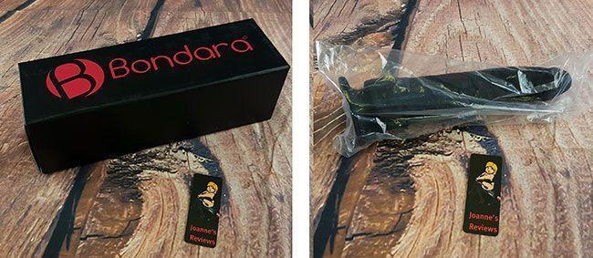 Dildo jest zapakowane w czarne pudełko z logo Bondara w szczelnym plastikowym worku