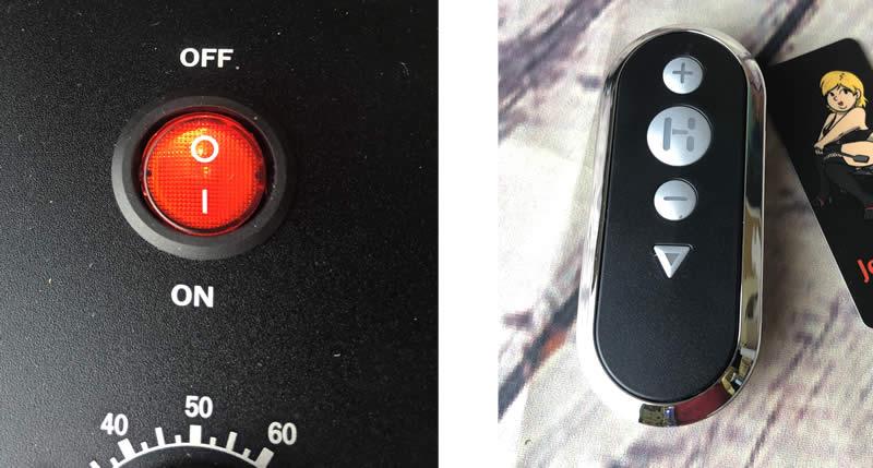 Imagen que muestra el interruptor de encendido y el control remoto