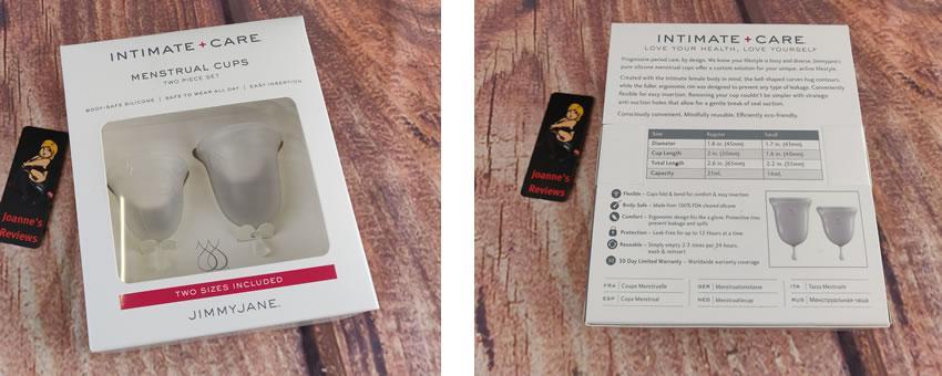 Kuva, joka näyttää Jimmy Jane Intimate Care -kuukauden kuppien pakkaukset