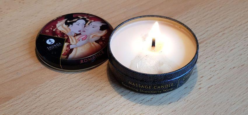 Image showing one of the Shunga candles lit