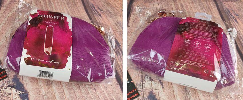 Whisper Vibe için ambalaj ve torbayı gösteren resim