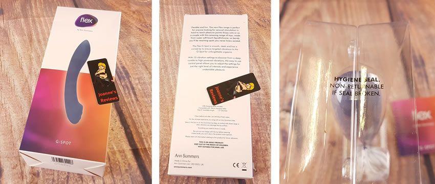 Изображение, показывающее упаковку вибратора G-spot от Ann Summers Flex