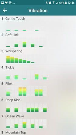 The Vibease app has 11 patterns