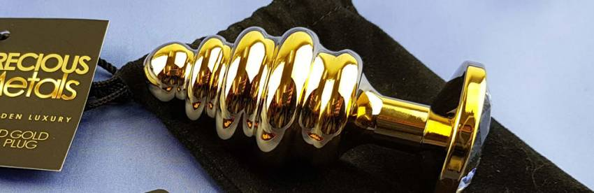 Loving Joy Jalometallit Ribbed Gold Anal Plug
