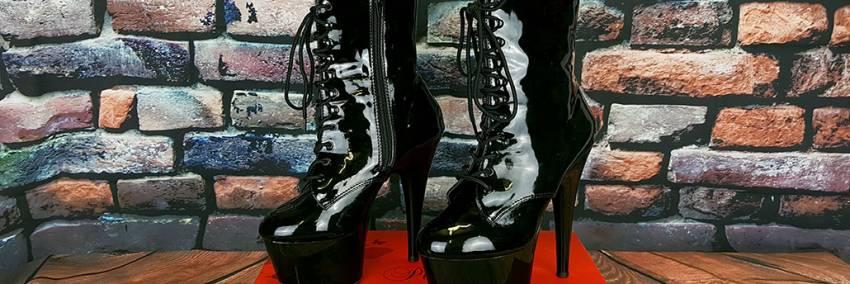"Pleaser Adore 1020 Black Patent Lace Up Platform Ankel Boots 7 "" Heels Review"