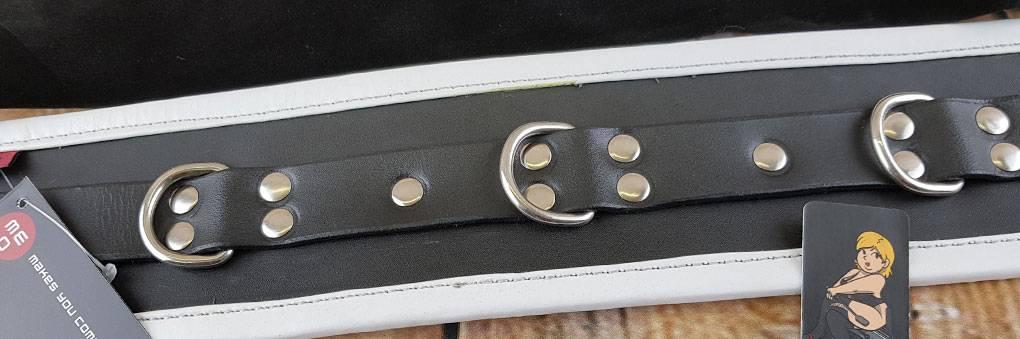 Schwarz-Weiß Leder Bondage Halsband von MeoBond