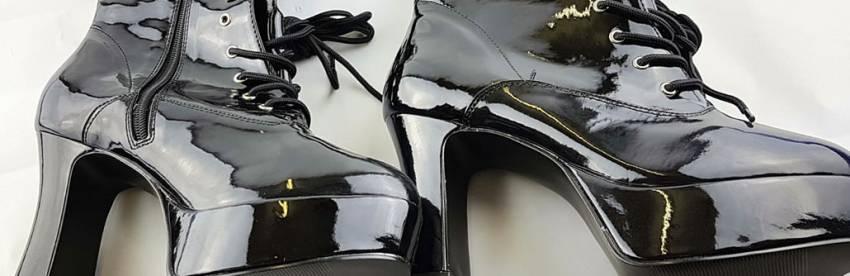 Pleaser Funtasma Exotica Sort Patentbred Bredde Platform Gogo Boot